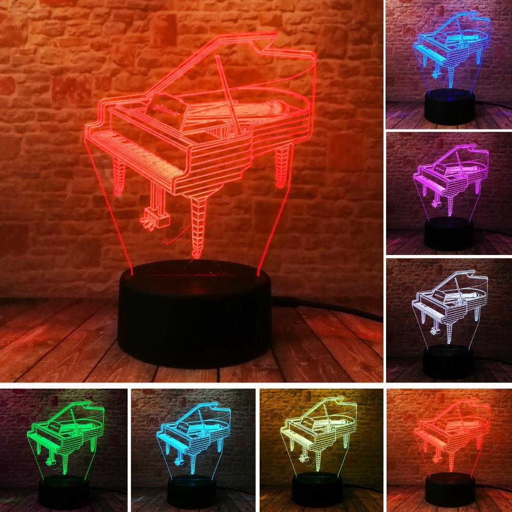 Piano 3D Optical illusion Night Light 7 Color Change LED Lamp Bedside Table Desk Bbay Children's Bedroom Home Bulb Party Decor modern design acrylic optical illusion 3d led lamp as home decor bedroom mood night light warm white usb table desk lamp zigzag