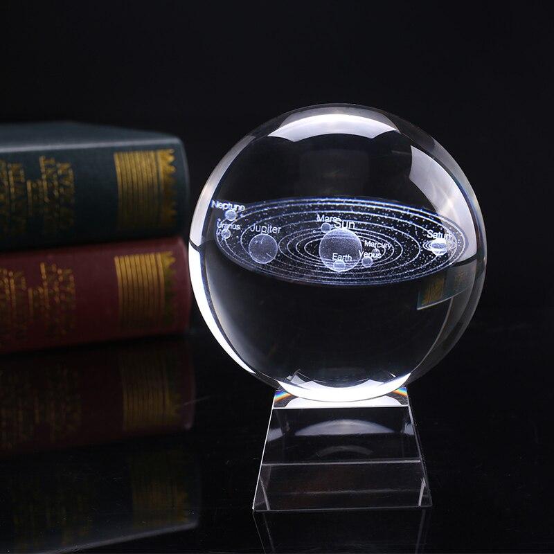 8 см диаметр миниатюрная Солнечная система модель хрустальный шар лазерная гравировка планеты Стекло Ремесло Украшение дома орнамент Сфер
