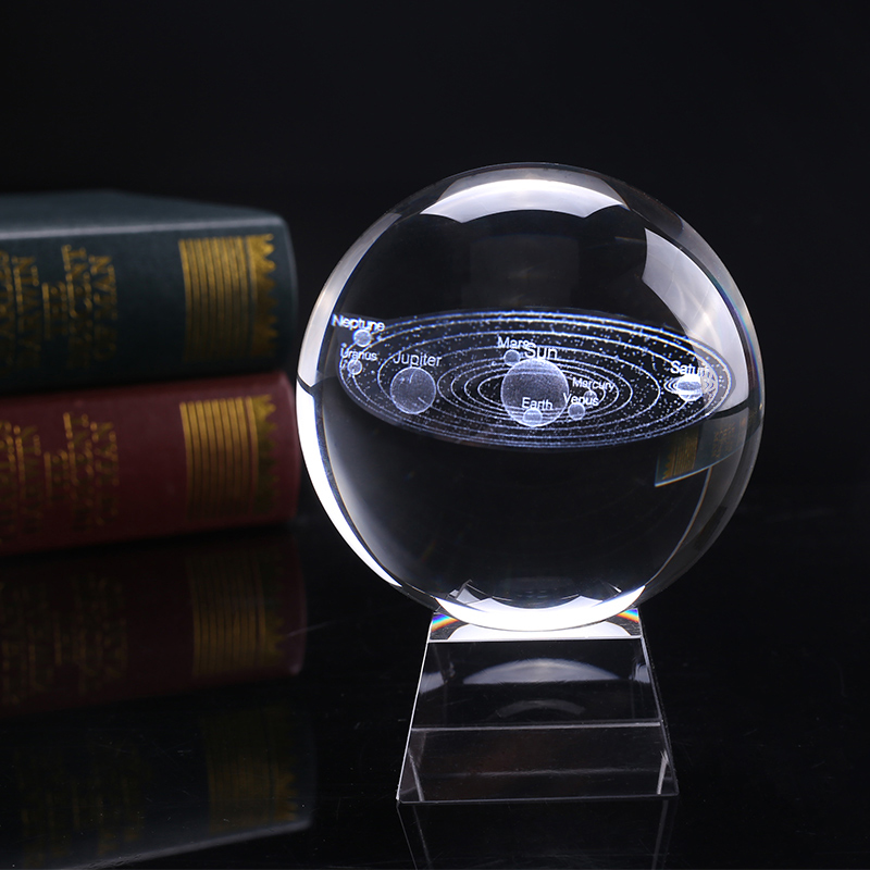 8 cm Diameter Miniature Solar System Model Crystal Ball Laser Engraved Planet Glass Craft Home Decoration Ornament Sphere Gift8 cm Diameter Miniature Solar System Model Crystal Ball Laser Engraved Planet Glass Craft Home Decoration Ornament Sphere Gift