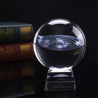8 cm Diameter Miniature Solar System Model Crystal Ball Laser Engraved Planet Glass Craft Home Decoration Ornament Sphere Gift