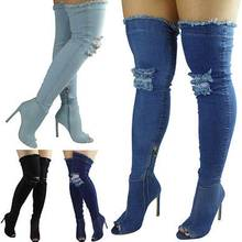 Women blue denim boots over the knee thigh high boots knee 2018 high heels women shoes tassel jeans boot Good service