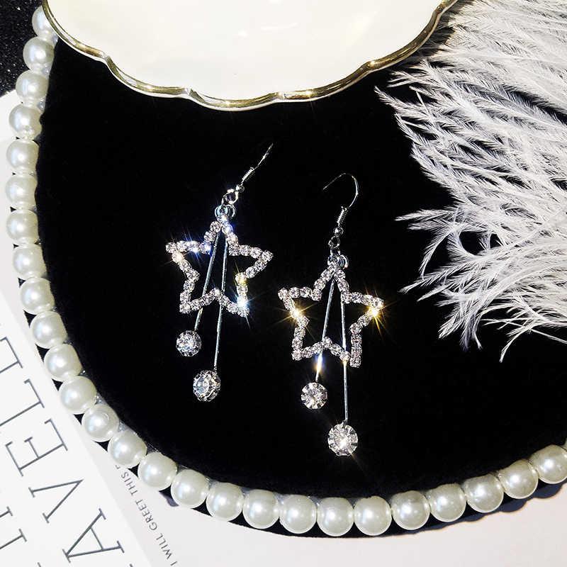 2019 pendientes de perlas de cadena salvaje dulce sección larga borla de cristal cinco pétalos flor nuevos pendientes