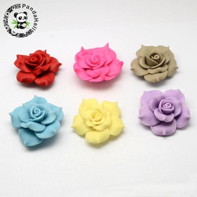 de41c57ec3d5 Handmade Polymer Clay Big 3D Flower Penoy Beads