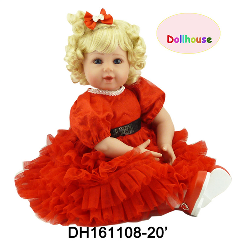 Red Princess Dolls for Girls Soft Cotton Realistic about 50cm Reborn Baby Dolls High-End Handmade Doll For Babies Gift high end handmade chinese dolls ancient costume tang princess jin yang jointed doll articulated kids toys girls birthday gift