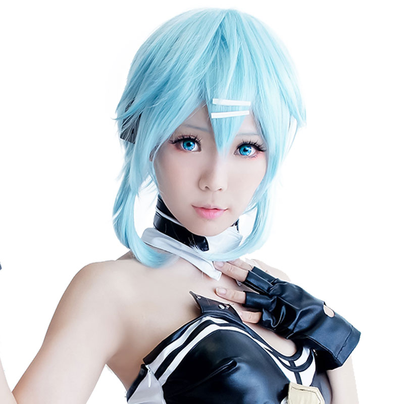 HSIU 40cm Short Ice Blue Wig Sword Art Online Cosplay Wig Sinon/Asada Shino Costume Play Wigs Halloween Party Anime Game Hair