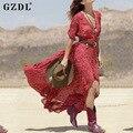 2016 Nuevas Mujeres Vestidos de Boho Casual V Cuello Floral partido de tarde atractivo del beachwear largo maxi dress vestidos de fiesta CL2571