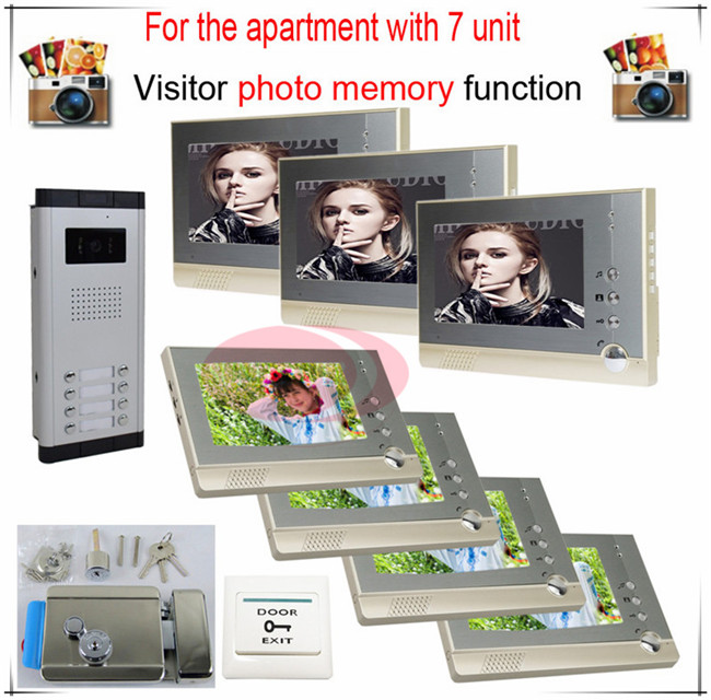 7v7 Take Photos Color Video Door Phone Intercom Doorbell System  For Seven Units Apartment  + Electronic control lock