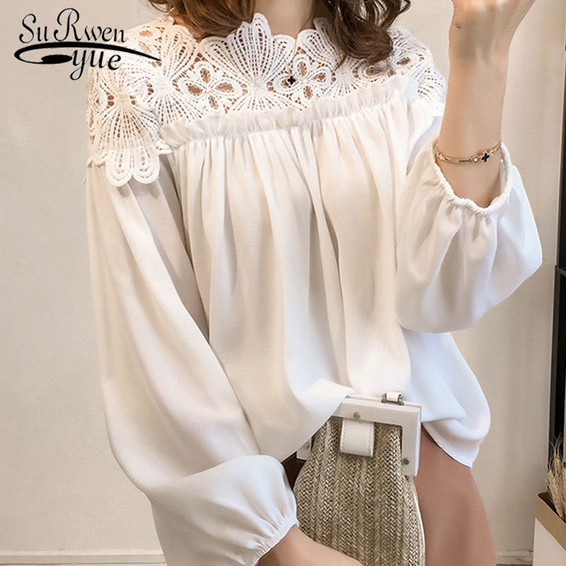 2018 new hooked hollow lace women   blouse     shirt   long sleeve casual women tops vintage plus size women's clothing blusas D84 30