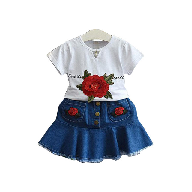 72f6449a7f7c DFXD Fashion Kids Clothes Girls Summer Sets White Short Sleeve Flower  Embroidery T-shirt+Jeans Skirt Children Clothing Sets 2-8Y