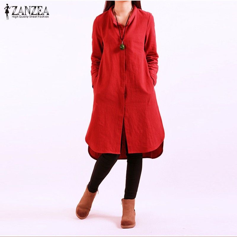 ZANZEA Women 2017 Autumn Casual Loose Vintage Dress Ladies Long Sleeve Split Splice Hem Cotton Soldi Dresses Plus Size Vestidos