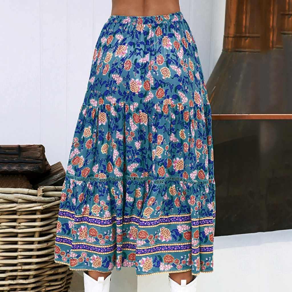 Womil saia feminina verão algodão sexy boêmio meia-comprimento impressão saia casual retro saia moda novo 2019 dropship m27