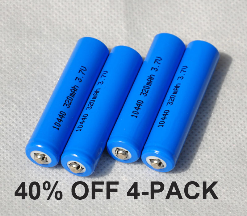 40%OFF 4pcs UNITEK <font><b>3.7v</b></font> ICR 10440 li-ion battery <font><b>320mah</b></font> 3A AAA rechargeable lithium ion cell for laser flashlight torch image
