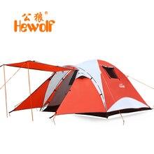 Hewolf двойной слой водонепроницаемый палатки кемпинга 4 человек большой путешествия семья туристическая палатка разрядки 2 номер barraca tenda полог тента