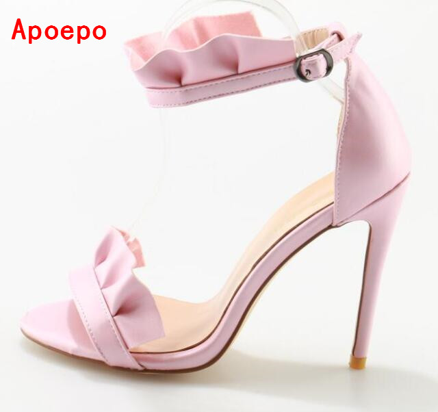 Hot Selling Pink Suede High Heel Sandal Open toe Ruffles Decorations Ankle Strap Gladiator Sandal 2017 Sexy Sandal hot selling black leather sandal high heel summer open toe chains decorations gladiator sandal woman cutouts thin heels shoes