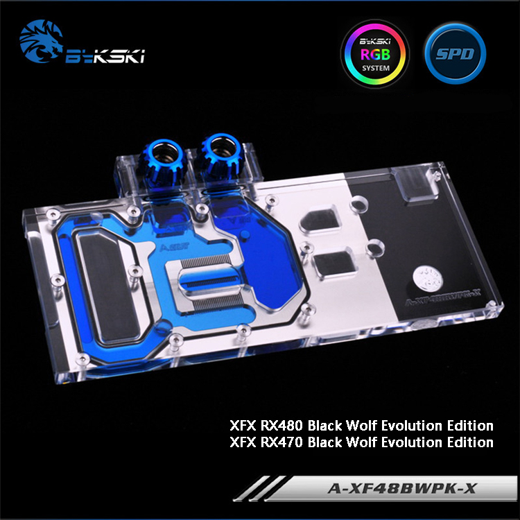 Bykski A-XF48BWPK-X Full Cover Graphics Card Water Cooling Block RGB/RBW/ARUA for XFX RX480/470 Black Wolf Evolution Edition 4pin mgt8012yr w20 graphics card fan vga cooler for xfx gts250 gs 250x ydf5 gts260 video card cooling