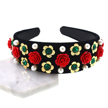Baroque Jewel Jeweled Headbands for Women Pearl Head Band Gemstone Hair Accessories Rose Floral Hairband Diamond Crown Hair Hoop все цены