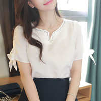 GUGULANG 2017 Summer Short Horn Sleeves Embroidered V Collar Women Chiffon Shirt White S M L