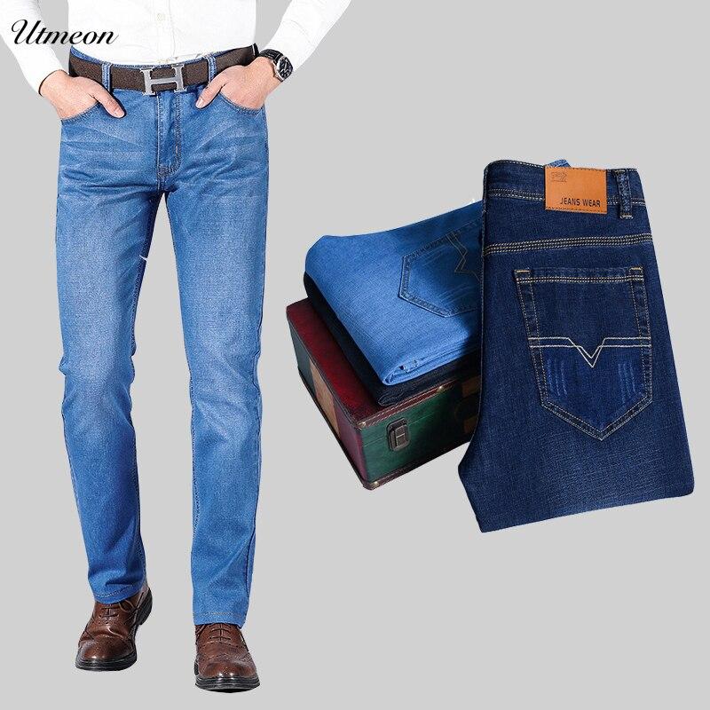 Utmeon Brand 2019 New Men's Slim Elastic Jeans Fashion Business Classic Style Skinny Jeans Denim Pants Trousers Male 1102