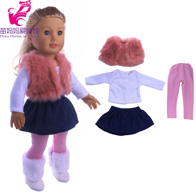 4 in 1 Doll Clothes set fur vest mini skirt and legging for 18 inch American girl doll doll outwear suit for baby born doll american girl doll clothes superman and spider man cosplay costume doll clothes for 18 inch dolls baby doll accessories d 3