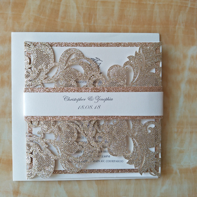 Luxury Glitter Gold Laser Cut Wedding Invitations With Rhinestone Pwim015 570set luxury glitter gold wedding invitations chagne