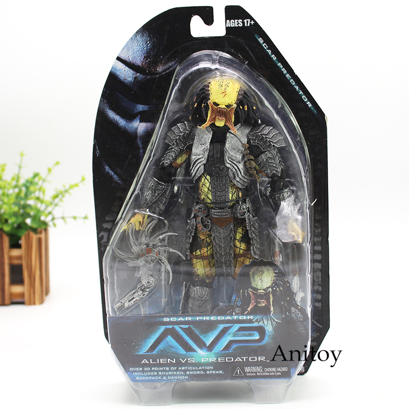 NECA Alien vs Predators Masked Scar Predator and Scar Predator Action Figure Toy 21cm KT4611 free shipping neca p1 7 soldier set classic predator 21cm alien hunter primevil avp