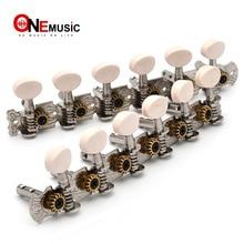6R6L нержавеющая гитара тюнинговые колышки машины тюнеры с белой пластиковой кнопкой для классической фольклорной гитары хром