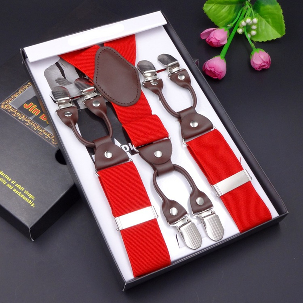 67ee8f59f65 Leather alloy 6 clips Width Adjustable male vintage casual suspenders men  button commercial western-style trousers braces strap