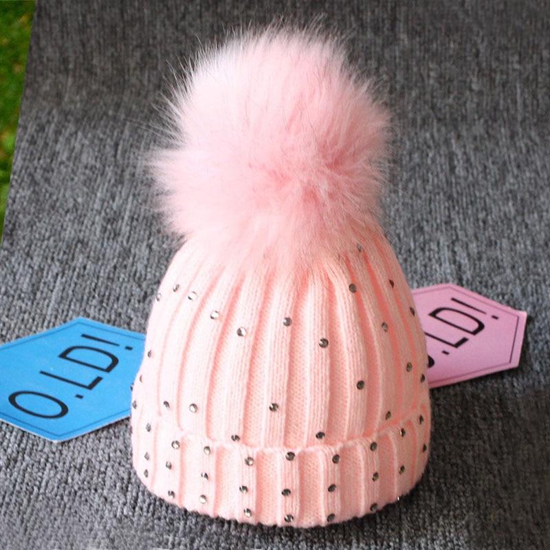 Neugeborenen Baby Winter Hüte Für Kinder Weiche Gestrickte Warme Kappe Mit Pompom Strass Einfarbig Baby Beanie Bonnet Enfant Kleinkind Hut