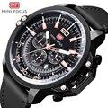 Бренд minifocus  мужские часы  роскошные  натуральная кожа  хронограф  водонепроницаемые  кварцевые  мужские наручные часы  Relogio Masculino