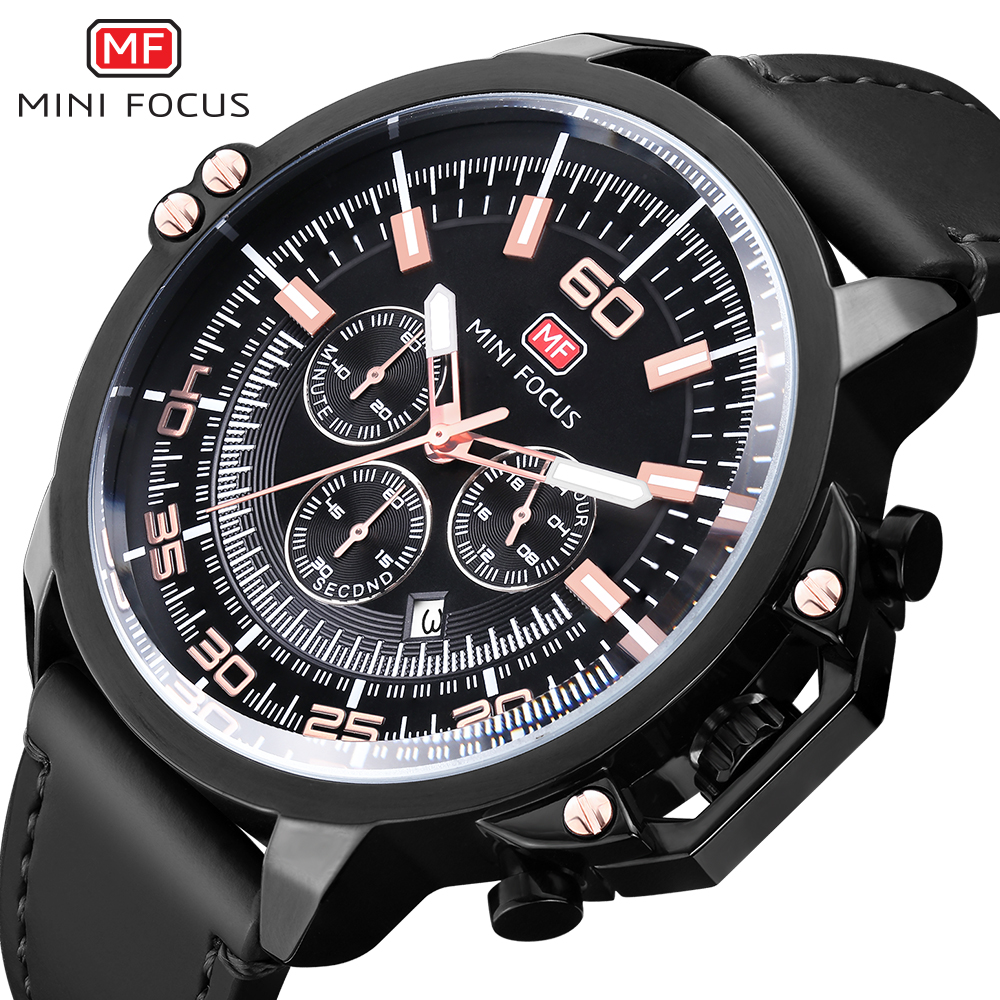 MINIFOCUS Brand Men's Watches luxury Genuine Leather Chronograph Waterproof Quartz Men Wristwatches Relogio Masculino Clock|Quartz Watches| |  - title=