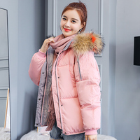 Women Winter jacket 2018 New solid Casual thick warm Contrast color pink Fur hooded back print cotton padded parka coat M 2XL