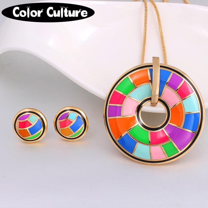 Nytt märke exklusivt vacker färg för kvinnor kostym förgylld emalj smycken uppsättningar födelsedagspresent för kvinnor (halsband, örhänge)