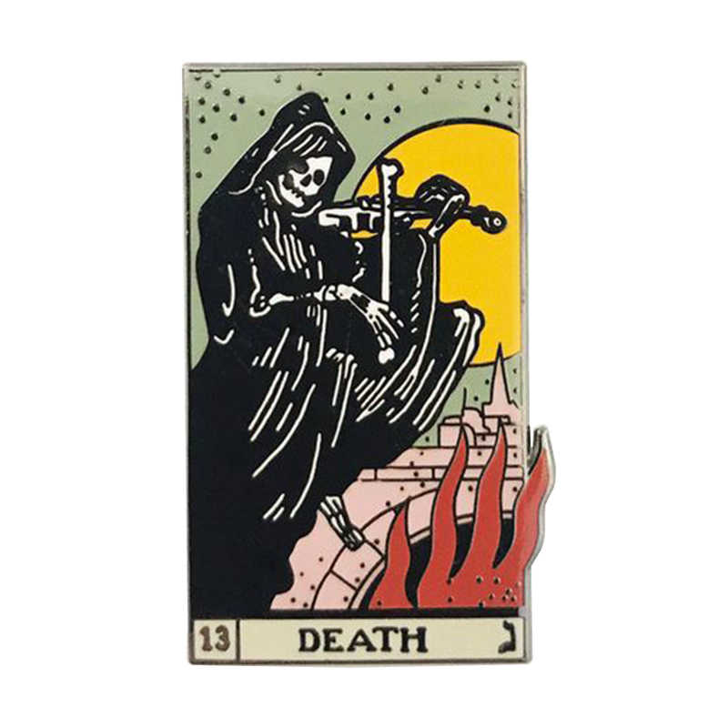 Death tarot card pin violin skull brooch divination badge Gothic art jewelry funny Halloween accessory
