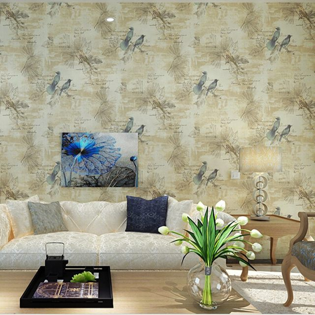 Beibehang Home Decor Flower Wall Paper NonWoven Wallpaper 3D Paper Contact  For Living Room Bird Wallpaper Roll Wall Panel Behang