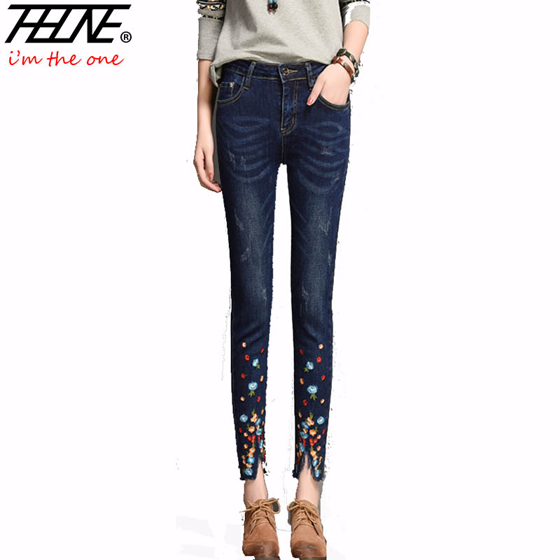 THHONE Embroidered Jeans Women Denim Pants Flowers Vintage Trousers Low Waist Slim Fit Stretch Casual Skinny Jeans Female 2017 spring new embroidered jeans color embroidered national wind low waist jeans trousers