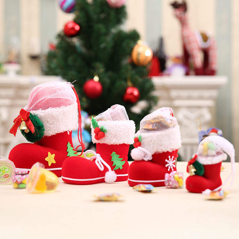 big christmas decorations flocking boots socks creative gift box of candy or pen holder decorative supplies