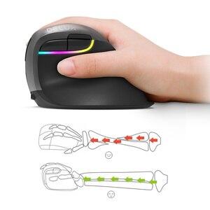 Image 3 - Delux M618 Mini souris ergonomique de jeu sans fil souris verticale Bluetooth 2.4GHz rvb Rechargeable souris silencieuse pour le bureau