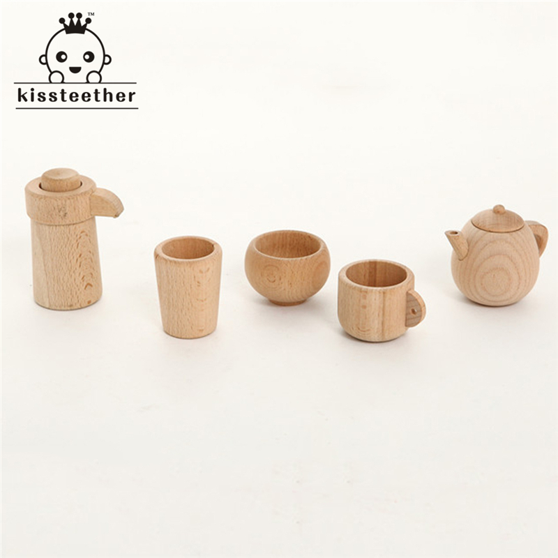 Wood Beech Baby Cutlery Cup Tray Baby Gift Set Portable Wooden Montessori Toy Inspired Toddler Pretend Play Kitchen Beads mother garden high quality wood toy wind story green tea wooden kitchen toys set