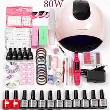 hot deal buy manicure set 36w/48w/80w nail lamp electric nail machine gel varnish  nail polish set for manicure accessories nail art tools