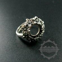 10mm instellen grootte bloem ronde bezel lade 925 sterling zilveren ring instelling DIY sieraden benodigdheden 1213028