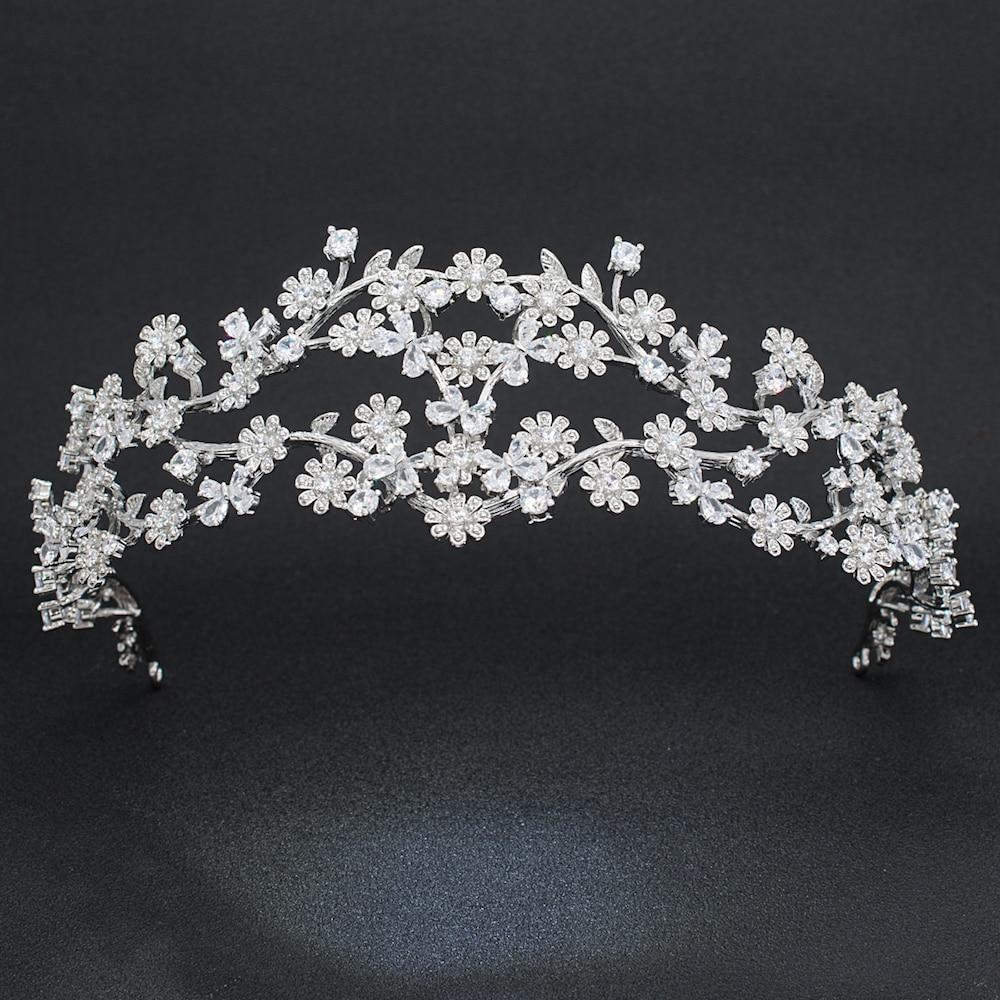 Cubic Zirconia 3 2 Round Bridal Wedding Daisy Headband Hairband Tiara Flower Hair Jewelry Accessories Hairpieces