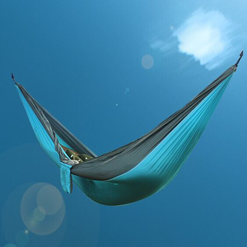 New High quality European popular portable parachute nylon fabric outdoor camping trip double hammock 270 * 140 cm free shippingNew High quality European popular portable parachute nylon fabric outdoor camping trip double hammock 270 * 140 cm free shipping