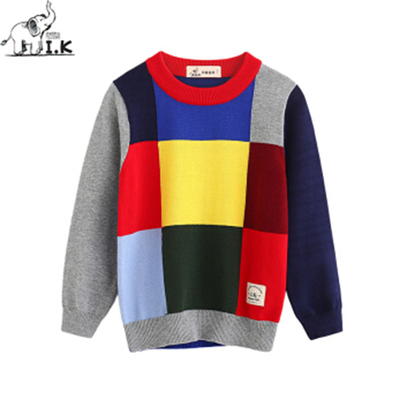 I.K Boys Brand Sweaters For Spring Autumn With Hit Color Patchwork Tops Children Baby Kids Cotton Knitted Clothing 2-8Y SH1044