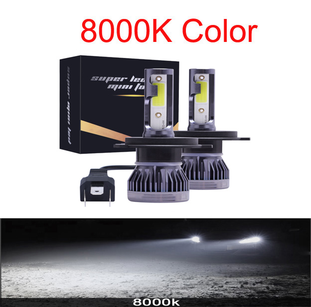Мини H4 H7 светодиодный фар автомобиля Kit 6000K 3000K 8000K 72W фары для 12000LM H1 H11 9005 HB3 9006 HB4 H8 6000 К лампочки Автомобильные аксессуары - Испускаемый цвет: 8000K