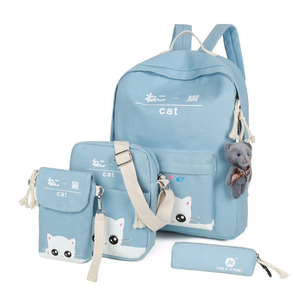2017  Canvas Backpack Schoolbags School For Girl Fashion Teenager Women Casual Travel Bags Rucksack Cute Children Large Capaciy