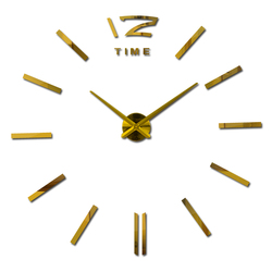 New arrival 3d home decor quartz diy wall clock clocks horloge watch living room metal fashion Acrylic mirror stickers