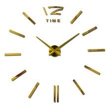 New arrival 3d dwelling decor quartz diy wall clock clocks horloge watch front room metallic trend Acrylic mirror stickers