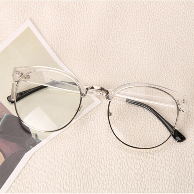 111ae90dd2 Clear Fashion Round Transparent Glasses Frame Women Semi Rimless Nerd  Female Grade Points Decoration Eyeglass with Optical Lens