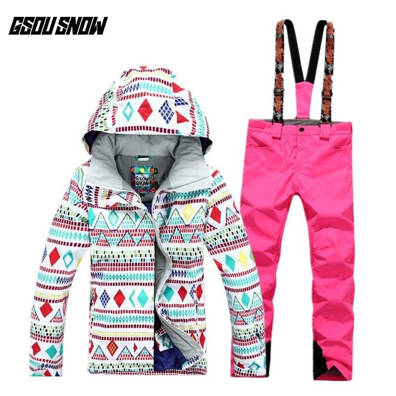 GSOU combinaison de Ski de neige combinaison femme coupe-vent imperméable chaud respirant Ultra léger veste de Ski d'hiver pantalon de Ski pour femmes taille S-L