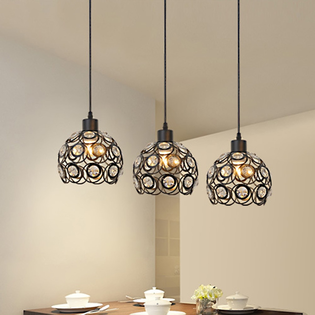 Creative Design Modern Glass Crystal Pendant Lights 3 Heads Hanging Lamps For Dining Room Living